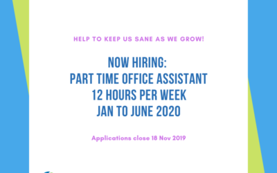 NOW HIRING: Part time Office Assistant Jan-June 2020